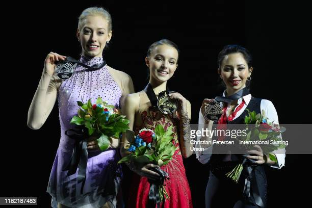 Silver medalist Bradie Tennell of the United States gold medalist Anna Shcherbakova of Russia and bronze medalist Elizaveta Tuktamysheva of Russia...