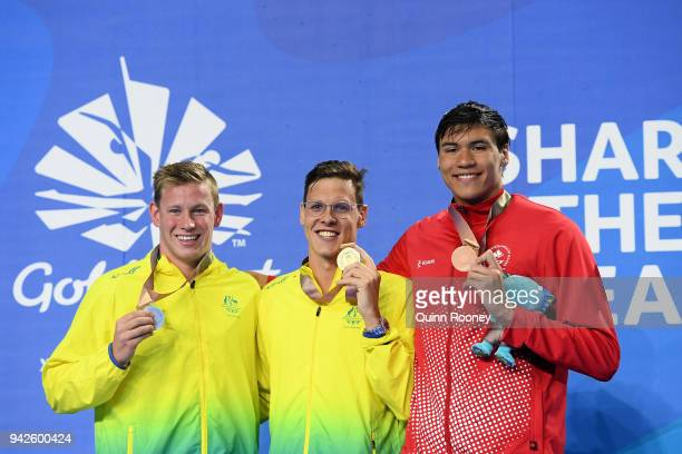Silver medalist Bradley Woodward of Australia gold medalist Mitch Larkin of Australia and bronze medalist Markus Thormeyer of Canada pose during the...