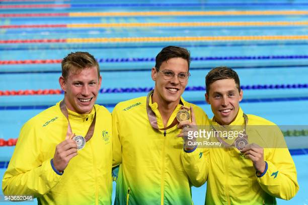 Silver medalist Bradley Woodward of Australia gold medalist Mitch Larkin of Australia and bronze medalist Josh Beaver of Australia pose during the...