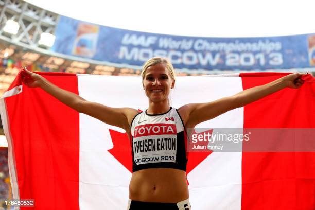 Silver medalist Brianne Theisen Eaton of Canada celebrates after the heptahlon during Day Four of the 14th IAAF World Athletics Championships Moscow...
