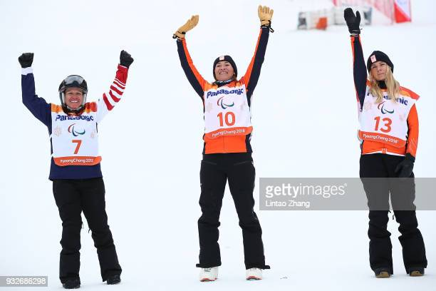 Silver Medalist Brittani Coury of United States Gold Medalist Bibian MentelSpee of Netherlands and Bronze Medalist Lisa Bunschoten of the Netherlands...