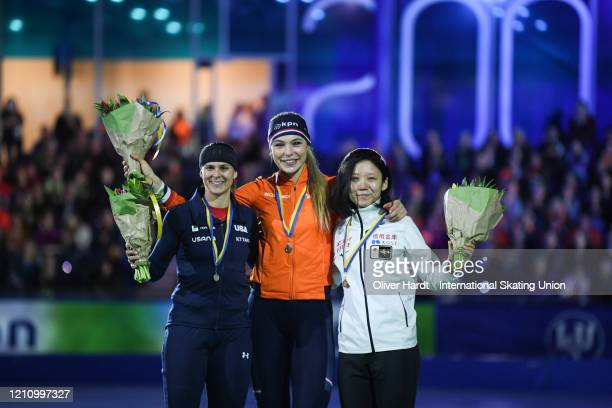 Silver medalist Brittany Bowe of the United States gold medalist Jutta Leerdam of the Netherlands and bronze medalist Miho Takagi of Japan poses...