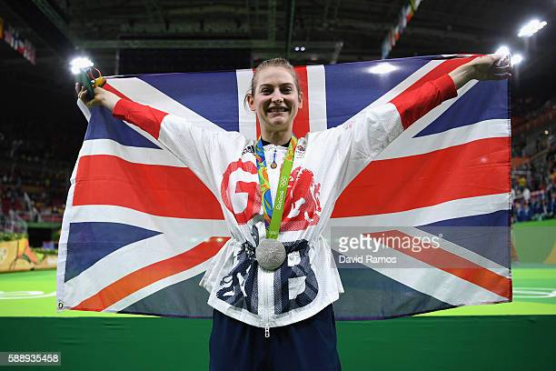 Silver medalist Bryony Page of Great Britain reacts after competing in the Trampoline Gymnastics Women's Final on Day 7 of the Rio 2016 Olympic Games...