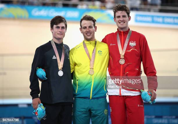 Silver medalist Campbell Stewart of New Zealand gold medalist Sam Welsford of Australia and bronze medalist Christopher Latham of England pose during...