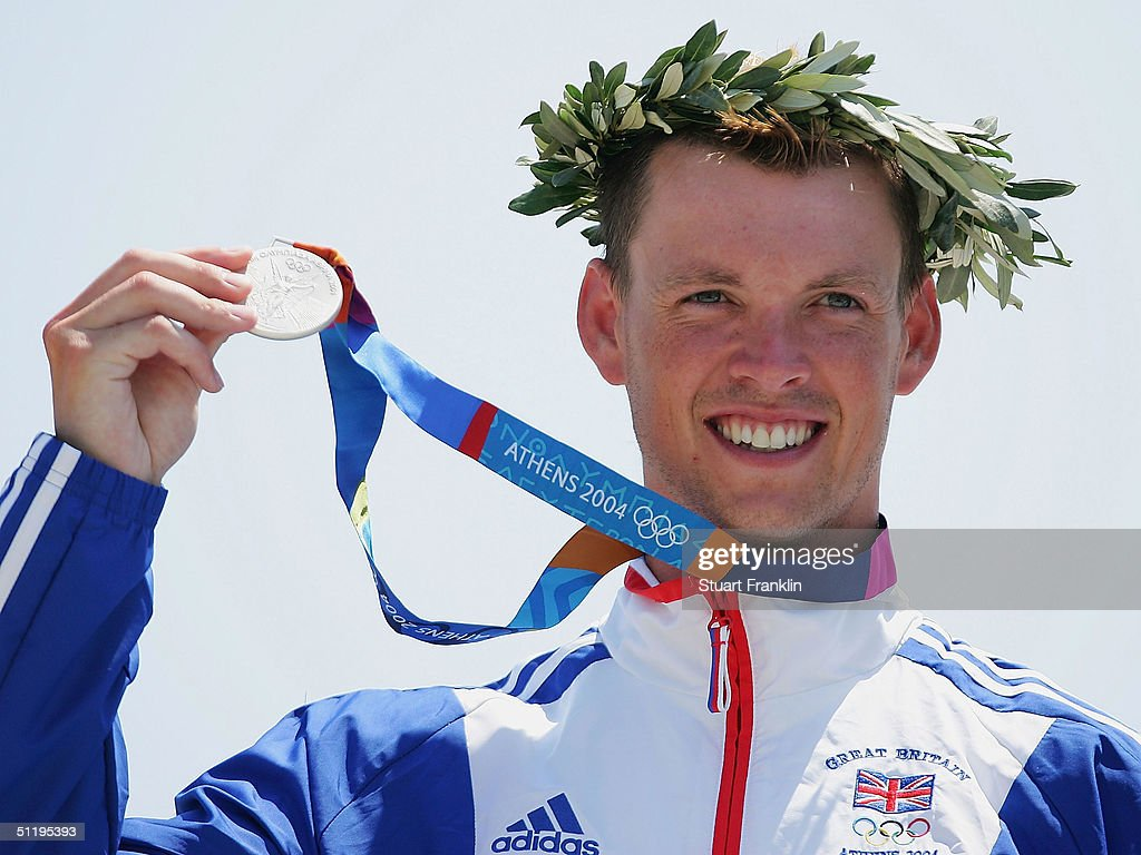 Silver medalist Campbell Walsh of Great Britain receives his medal during ceremonies for the men's K-1 class slalom event on August 20, 2004 during the Athens 2004 Summer Olympic Games at the Schinias Olympic Slalom Centre in Athens, Greece.