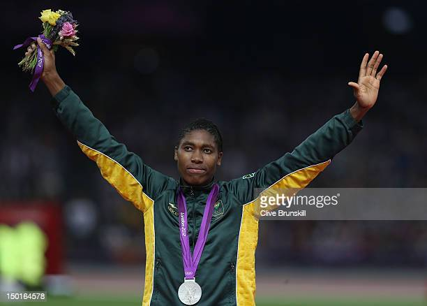 Silver medalist Caster Semenya of South Africa poses on the podium during the medal ceremony for the Women's 800m on Day 15 of the London 2012...