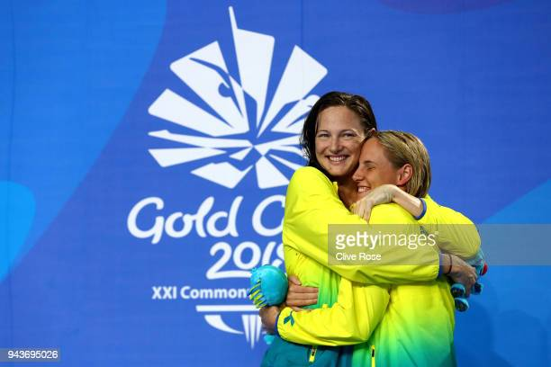 Silver medalist Cate Campbell of Australia and gold medalist Bronte Campbell of Australia pose during the medal ceremony for the Women's 100m...