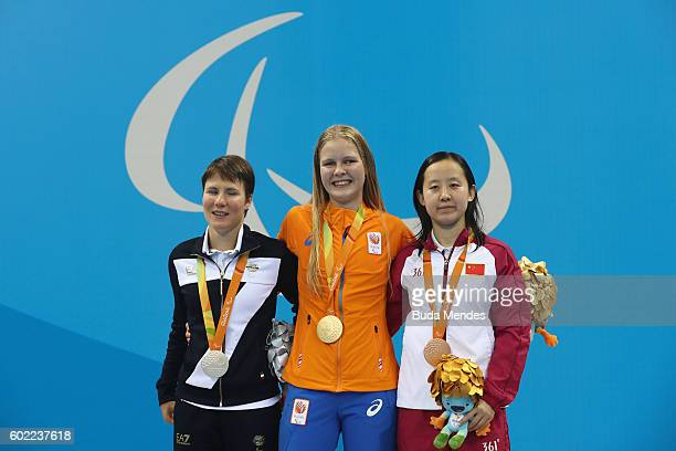 Silver medalist Cecilia Camellini of Italy Gold medalist Liesette Bruinsma of the Netherlands and Bronze medalist Xie Qing of China pose for...