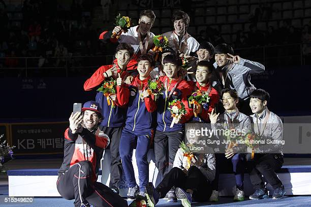 Silver medalist Charles Hamelin Samuel Girard Charle Cournoyer and Alexander Fathoullin of Canada gold medalst Wu Daijing Shi Jingnan Han Tianyu and...