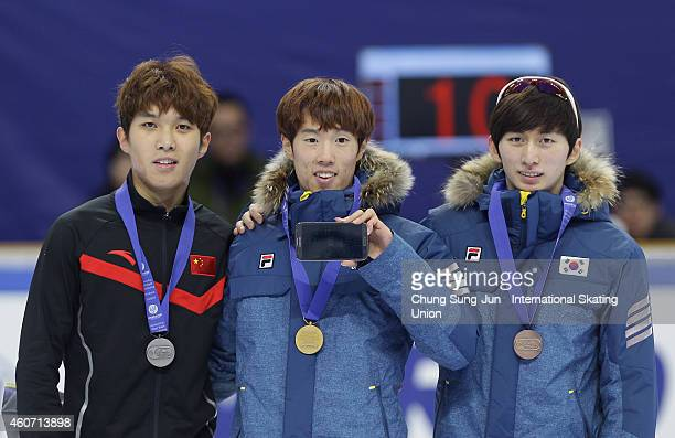 Silver medalist Chen Dequan of China Gold medalist Sin DaWoon of South Korea and Bronze medalist Park SeYeong of South Korea pose for medal ceremomy...