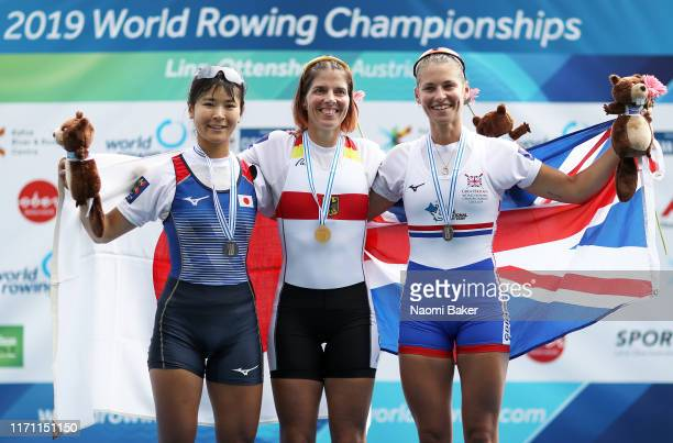 Silver Medalist Chiaki Tomita of Japan, Gold Medalist Marie-Louise Draeger of Germany and Bronze Medalist Maddie Arlett of Great Britain pose during...