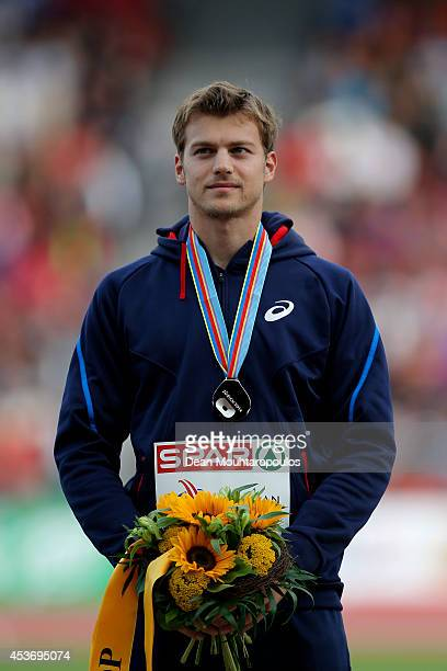 Silver medalist Christophe Lemaitre of France stands on the podium during the medal ceremony for the Men's 200 metres final during day five of the...