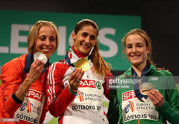 Silver medalist Corinna Harrer of Germany Gold medalist Sara Moreira of Portugal and Bronze medalist Fionnuala Britton of Ireland pose during the...