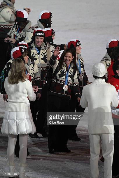 Silver medalist curler Cheryl Bernard of Canada during the Closing Ceremony of the Vancouver 2010 Winter Olympics at BC Place on February 28 2010 in...