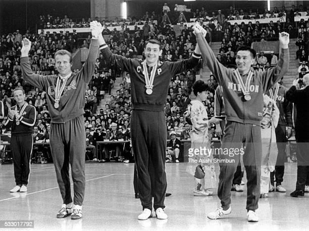 Silver medalist Czechoslovakia captain Josef Musil gold medalists Soviet Union captain Yury Chesnokov and bronze medalists Japan captain Yutaka...