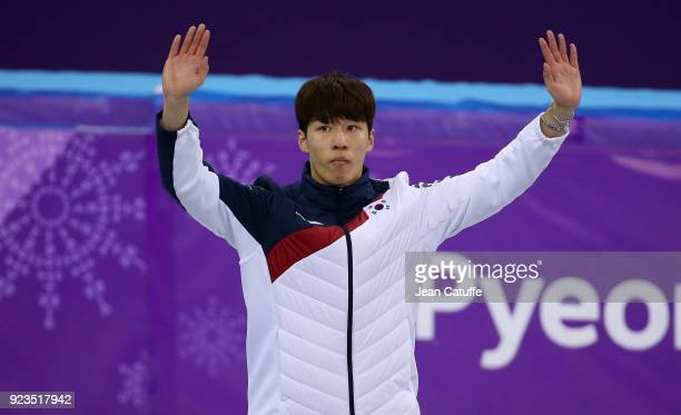 Silver medalist Daeheon Hwang of South Korea during ceremony following the Short Track Speed Skating Men's 500m Final A on day thirteen of the...