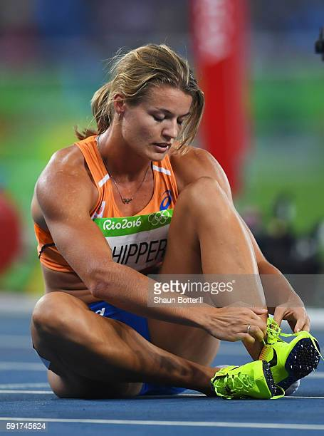 Silver medalist Dafne Schippers of the Netherlands reacts after the Women's 200m Final ahead of on Day 12 of the Rio 2016 Olympic Games at the...