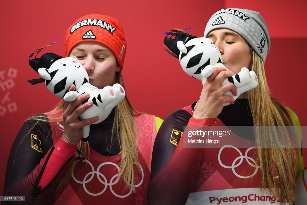 Silver medalist Dajana Eitberger of Germany and gold medalist Natalie Geisenberger of Germany celebrate following the Luge Women's Singles on day four of the PyeongChang 2018 Winter Olympic Games at Olympic Sliding Centre on February 13, 2018 in Pyeongchang-gun, South Korea.