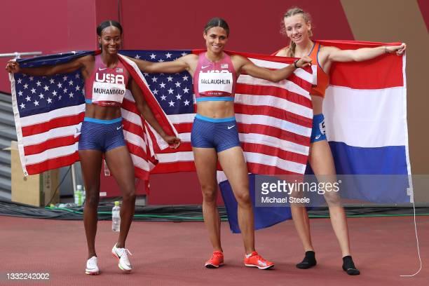 Silver medalist Dalilah Muhammad of Team United States, gold medalist Sydney McLaughlin of Team United States and bronze medalist Femke Bol of Team...