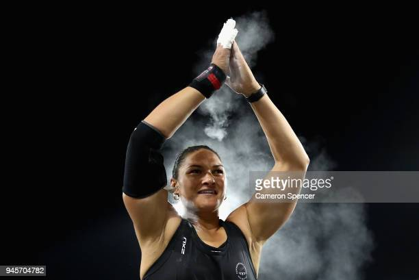Silver medalist Dame Valerie Adams of New Zealand celebrates after the Women's Shot Put final during athletics on day nine of the Gold Coast 2018...