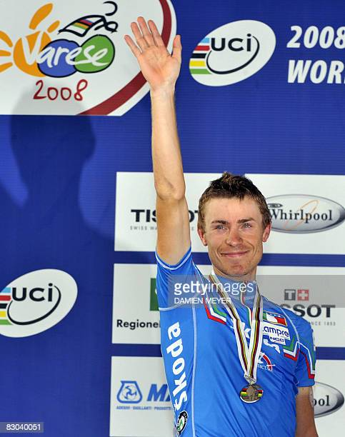 Silver medalist Damiano Cunego of Italy celebrates at the podium of the elite men road race at the 2008 UCI road world championships in Varese on...