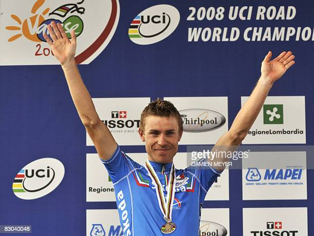 Silver medalist Damiano Cunego of Italy celebrates on the podium of the elite men road race at the 2008 UCI road world championships in Varese on...