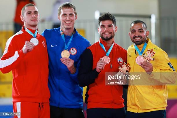 Silver medalist Daniel Gaysinsky of Canada gold medalist Brian Irr of the United Stattes bronze medalists Rodrigo Rojas of Canada and Diego Lenis of...