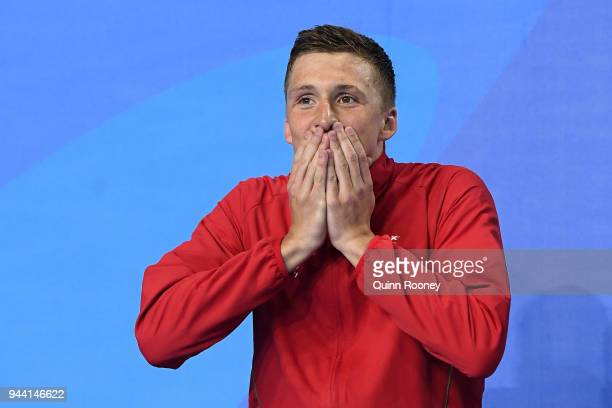Silver medalist Daniel Jervis of Wales poses during the medal ceremony for the Men's 1500m Freestyle Final on day six of the Gold Coast 2018...