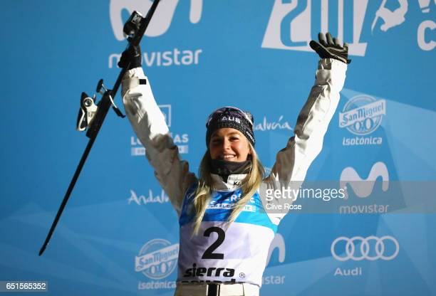 Silver medalist Danielle Scott of Australia celebrates during the medal ceremony for the Women's Aerials Final on day three of the FIS Freestyle Ski...