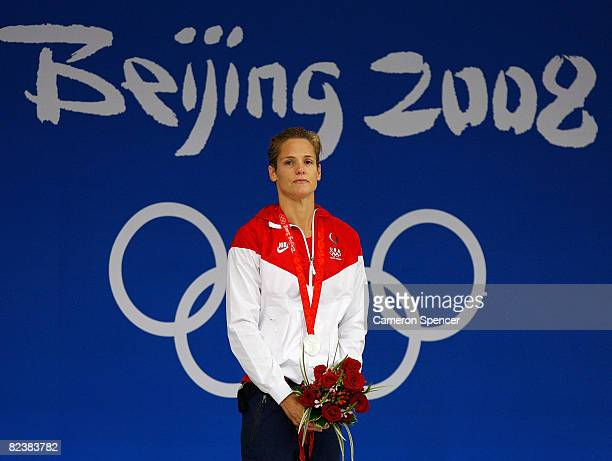 Silver medalist Dara Torres of the United States stands on the podium after receiving her medal in the Women's 50m Freestyle final held at the...