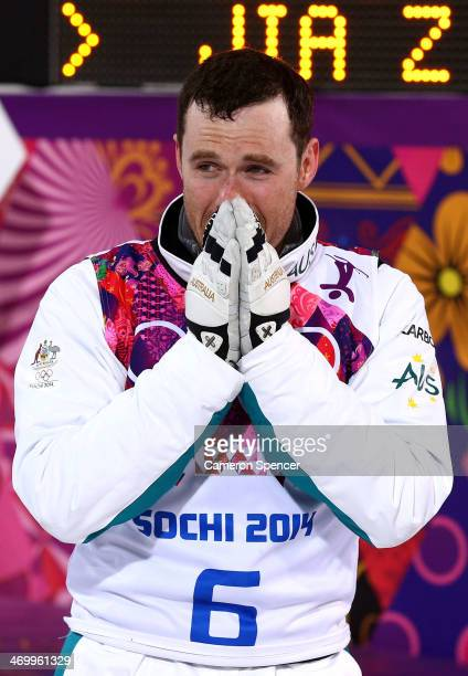 Silver medalist David Morris of Australia celebrates after the Freestyle Skiing Men's Aerials Finals on day ten of the 2014 Winter Olympics at Rosa...