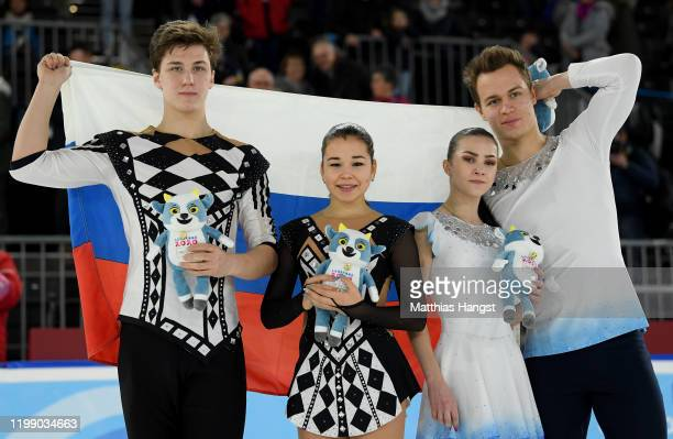 Silver medalist Diana Mukhametzianova and Ilya Mironov of Russia and gold medalist Apollinariia Panfilova and Dmitry Rylov of Russia pose for a photo...
