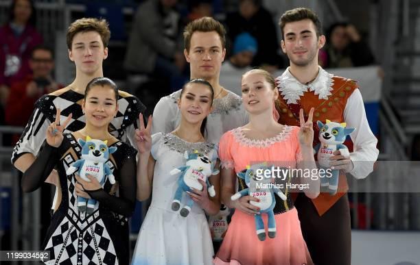 Silver medalist Diana Mukhametzianova and Ilya Mironov of Russia, gold medalist Apollinariia Panfilova and Dmitry Rylov of Russia and bronze medalist...