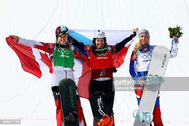 Silver medalist Dominique Maltais of Canada gold medalist Eva Samkova of the Czech Republic and bronze medalist Chloe Trespeuch of France celebrate...
