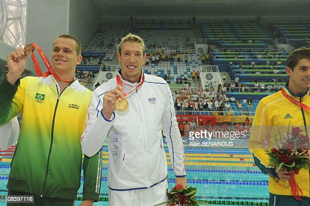 Silver medalist Eamon Sullivan of Australia gold medalist Alain Bernard and joint bronze medalists Cesar Cielo Filho of Brazil and Jason Lezak of the...