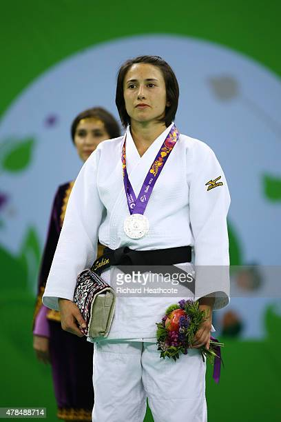 Silver medalist Ebru Sahin of Turkey looks on from the medal podium following the Women's Judo 48kg Finals during day thirteen of the Baku 2015...