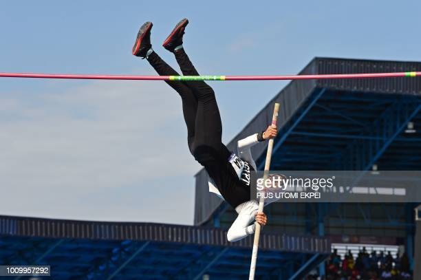 Silver medalist Egyptian Dina Eltiabaa leaps high with a pole during the Women's Pole Vaut final at the 21st African Senior Athletics Championships...