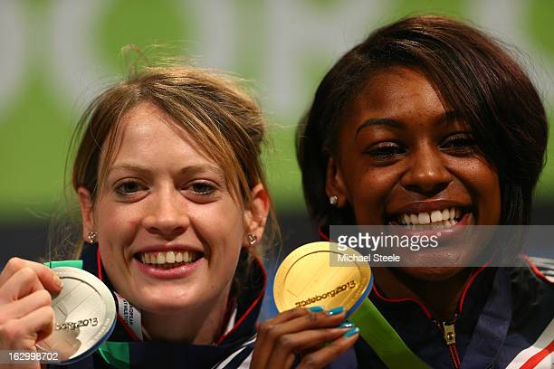 Silver medalist Eilidh Child of Great Britain and Northern Ireland and Gold medalist Perri ShakesDrayton of Great Britain and Northern Ireland pose...