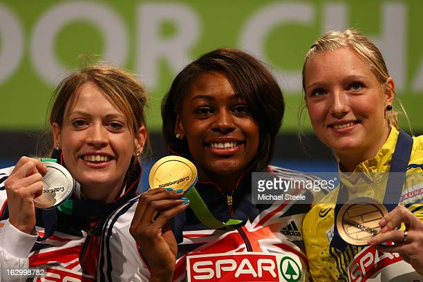 Silver medalist Eilidh Child of Great Britain and Northern Ireland Gold medalist Perri ShakesDrayton of Great Britain and Northern Ireland and bronze...