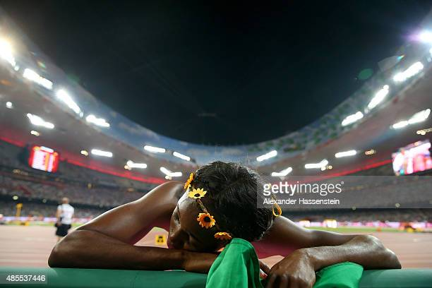 Silver medalist Elaine Thompson of Jamaica reacts after the Women's 200 metres final during day seven of the 15th IAAF World Athletics Championships...