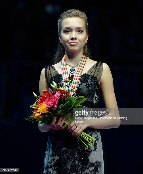 Silver medalist Elena Radionova of Russia poses during the medal ceremony of Ladies Free Skating during day three of the ISU European Figure Skating...