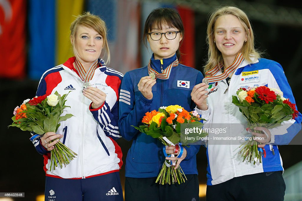Silver medalist Elise Christie of Great Britain, Gold medalist Minjeong Choi of Korea and Bronze medalist Arianna Fontana of Italy pose with their medals following the Ladies' 1000m Final on day three of the ISU World Short Track Speed Skating Championships at the Krylatskoe Speed Skating Centre on March 15, 2015 in Moscow, Russia.