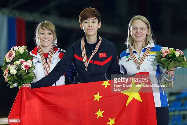 Silver medalist Elise Christie of Great Britain Gold medalist Kexin Fan of China and Bronze medalist Arianna Fontana of Italy pose with their medals...