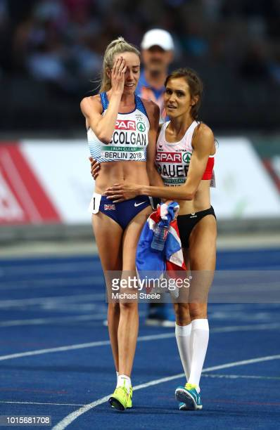 Silver medalist Elish McColgan of Great Britain is congratulated by Nada Pauer after the Women's 5000 metres during day six of the 24th European...
