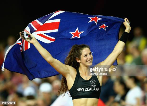 Silver medalist Eliza McCartney of New Zealand celebrates after the Women's Pole Vault during athletics on day nine of the Gold Coast 2018...