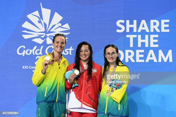 Silver medalist Ellie Cole of Australia gold medalist Alice Tai of England and bronze medalist Ashleigh Mcconnell of Australia pose during the medal...