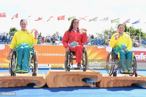 Silver medalist Emily Tapp of Australia Gold medalist Jade Jones of England and Lauren Parker of Australia pose during the medal ceremony of the...