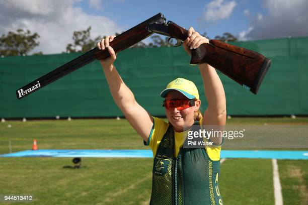 Silver medalist Emma Cox of Australia celebrates following the Women's Double Trap Finals on day seven of the Gold Coast 2018 Commonwealth Games at...