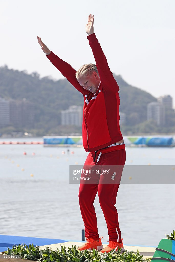 Silver medalist Emma Jorgensen of Denmark celebrates on the podium during the medal ceremony for the Women's Kayak Single 500m event at the Lagoa Stadium on Day 13 of the 2016 Rio Olympic Games on August 18, 2016 in Rio de Janeiro, Brazil.