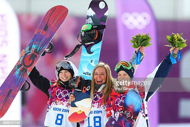 Silver medalist Enni Rukajarvi of Finland gold medalist Jamie Anderson of the United States and bronze medalist Jenny Jones of Great Britain pose...